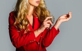 Beautiful Girl Using Perfume. Woman With Bottle Of Perfume. Perfume Bottle Woman Spray Aroma. Woman