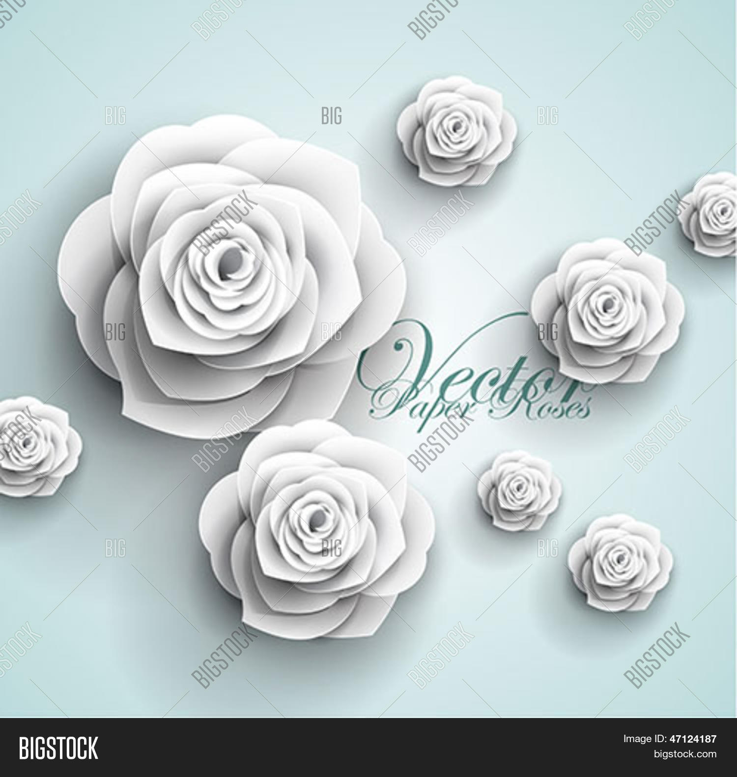 3d Paper Rose Flowers Vector Photo Free Trial Bigstock