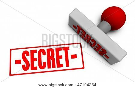 Secret Stamp or Chop on Paper Concept in 3d