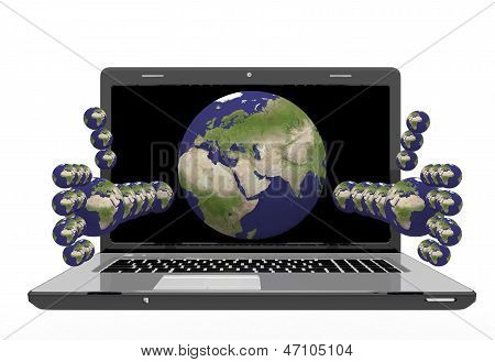 laptop with hands in the form of the planets