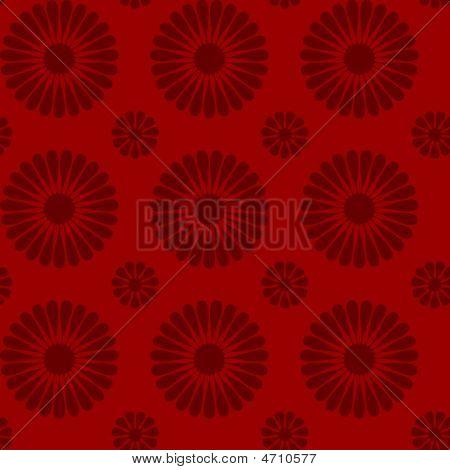 Red Repeating Flower Design Wallpaper