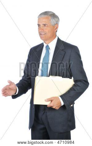 Middle Aged Businessman Holding Folder Handshake