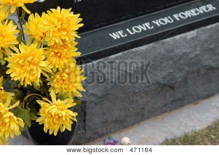 New Granite Headstone And Flowers