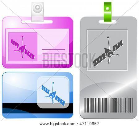 Spaceship. Raster id cards.