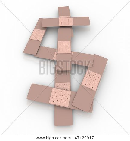 The rising cost or price of health care and insurance illustrated by a dollar sign or symbol made of bandages