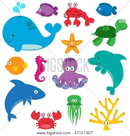 Vector Set of Cute Sea Creatures Characters poster
