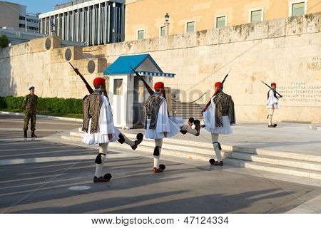Ceremony of changing guards near Greek parliament