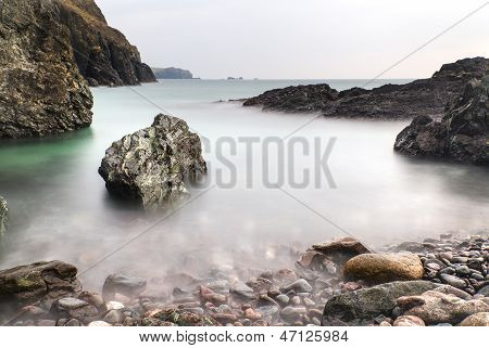 Long exposure landscape at Kynance Cove tide