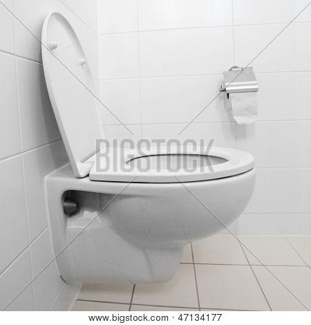 White toilet bowl in a modern bathroom.