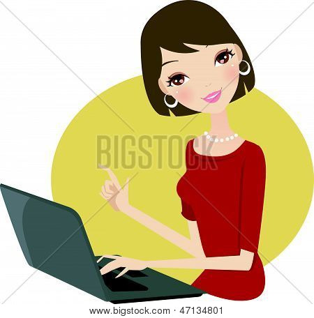 A beauty girl using computer