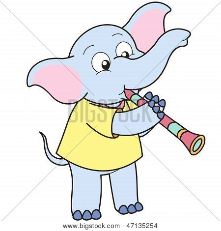 Cartoon Elephant Playing A Clarinet