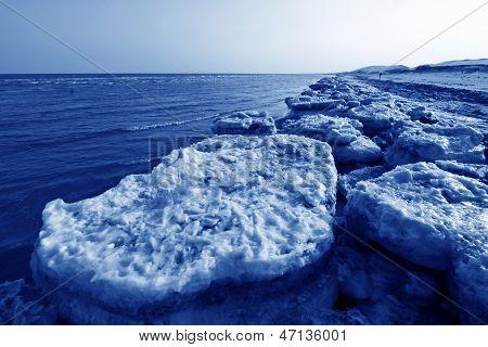Coast Residual Ice Natural Scenery