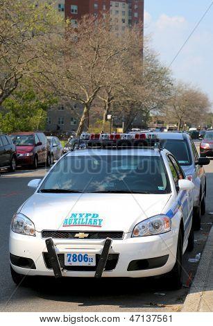 NYPD axillary car in Brooklyn, NY