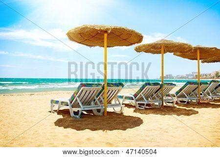 Vacation Concept. Spain. Beach on Costa del Sol. Mediterranean Sea
