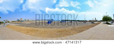 Jeddah Cornish and waterfront in Hamra on the Red Sea with white clouds poster