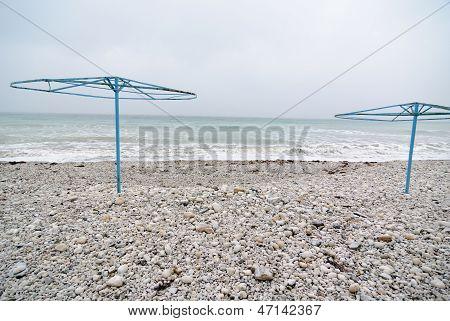 Empty beach at winter