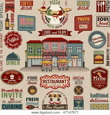 Collection of Restaurant Design Elements.Vector Illustration