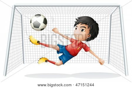 Illustration of a boy playing soccer wearing a red uniform on a white background