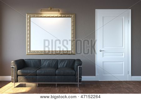 New Modern Living Room With Sofa And Picture Frame