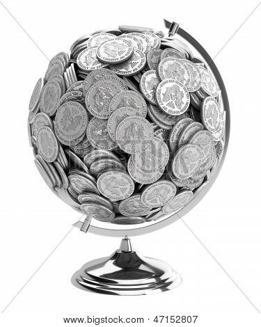 Globe of silver dollars on an isolated white background