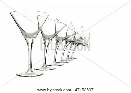 glasses with different characters isolated on white