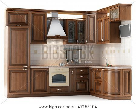 Beautiful kitchen furniture made ??of wood isolated on white