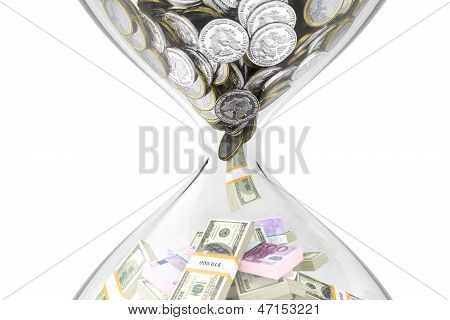 Evolution of money over time on a white isolated background