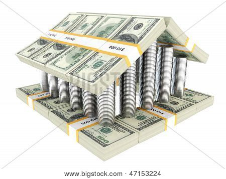 colonial structure built from the cash isolated on white