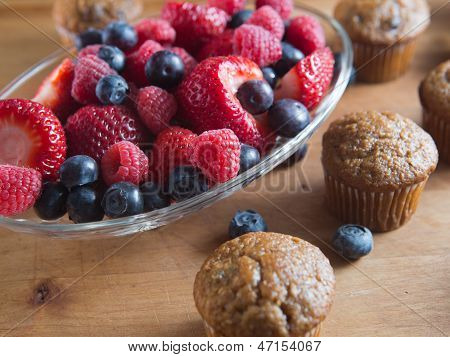 Fresh fruit muffins with organic berries