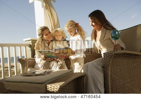 Female members of a family spending time together