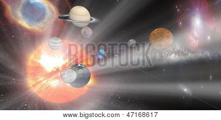 sun white rays with Solar system