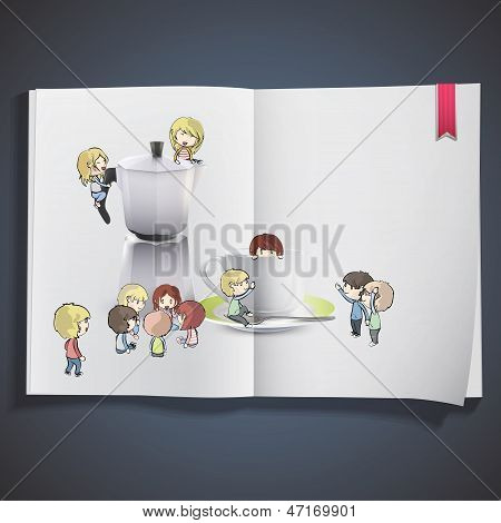 Kids Around Cup Of Coffee, And Coffee Pot. Vector Design