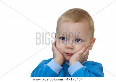 Portrait of surprised child isolate