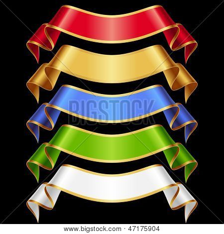 Vector Ribbons set 11. Varicoloured banners isolated on black background