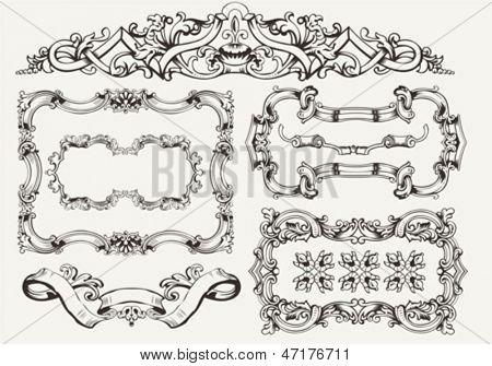 vector set: ornate vintage frames and page decoration