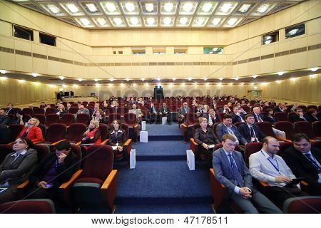 MOSCOW - NOV 21: The hall of President Hotel where the International Conference Real Estate Managementin Corporations in the President Hotel, on Nov 21, 2012 in Moscow, Russia