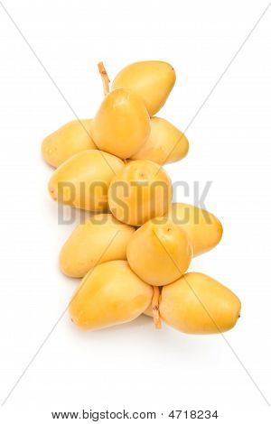 Fresh yellow dates isolated on a white studio background poster