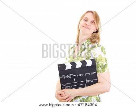Beautiful woman with clapperboard on white background