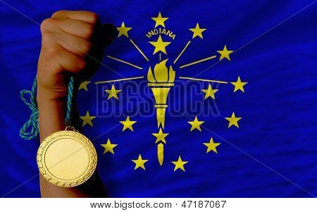 Gold Medal For Sport And  Flag Of American State Of Indiana