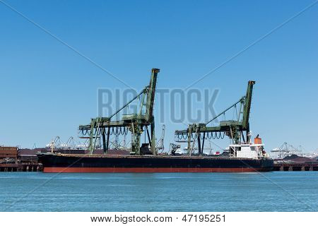 Ship is unloading the iron ore