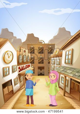 Illustration of the Muslims near the saloon bar