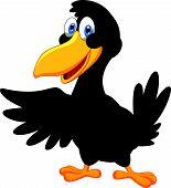 Vector illustration of Cute raven cartoon waving poster