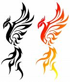 art abstract animal flame vector illustration phoenix poster