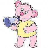 Cartoon Bear playing a trumpet. vector illustration. poster