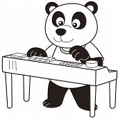 Cartoon Panda playing an electronic organ.black and white poster