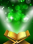 Open Islamic religious holy book Quran Shareef on shiny abstract green background. poster
