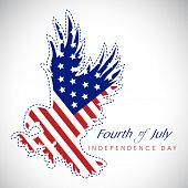 4th of July, American Independence Day background with national bird eagle in national flag colors. poster