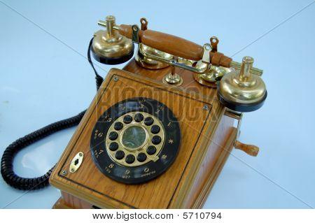 Wood Grain Wind up Vintage Telephone