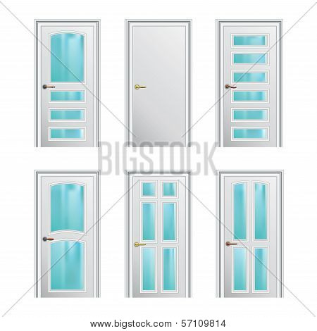 Set Of 6 White Painted Profiled Doors With Glass Insertions. Eps10