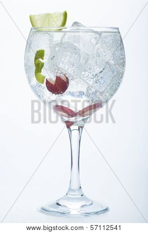 Grape And Lime Gin Tonic Isolated Over White